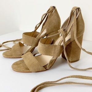 Jessica Simpson Brown Suede Sandals Wrap Ankle 6M